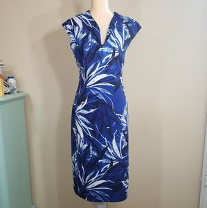 Connected Apparel Dress floral Blue Size 12 Sleeve